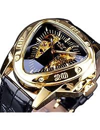 Fashion Mechanical Wrist Watch Triangle Racing Dial Golden Skeleton Dial