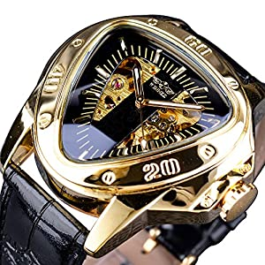 Winner Fashion Mechanical Wrist Watch Triangle Racing Dial Golden Skeleton Dial