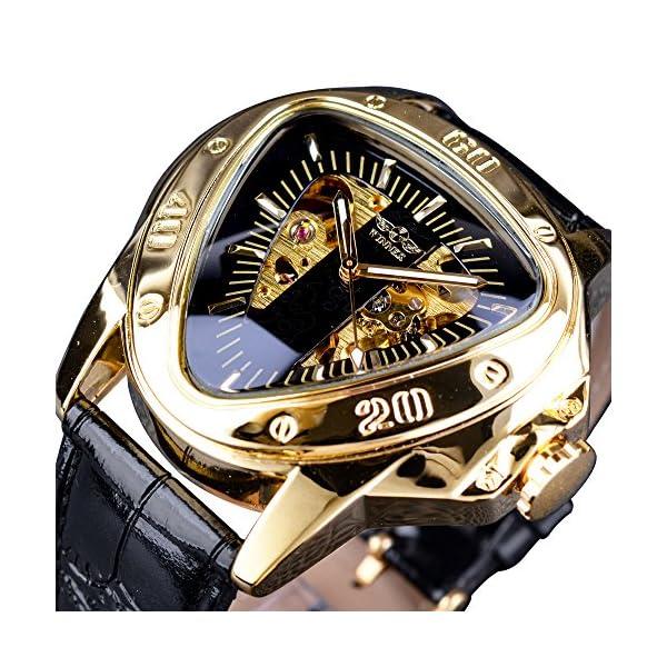 Winner Fashion Mechanical Wrist Watch Triangle Racing Dial Golden Skeleton Dial 3