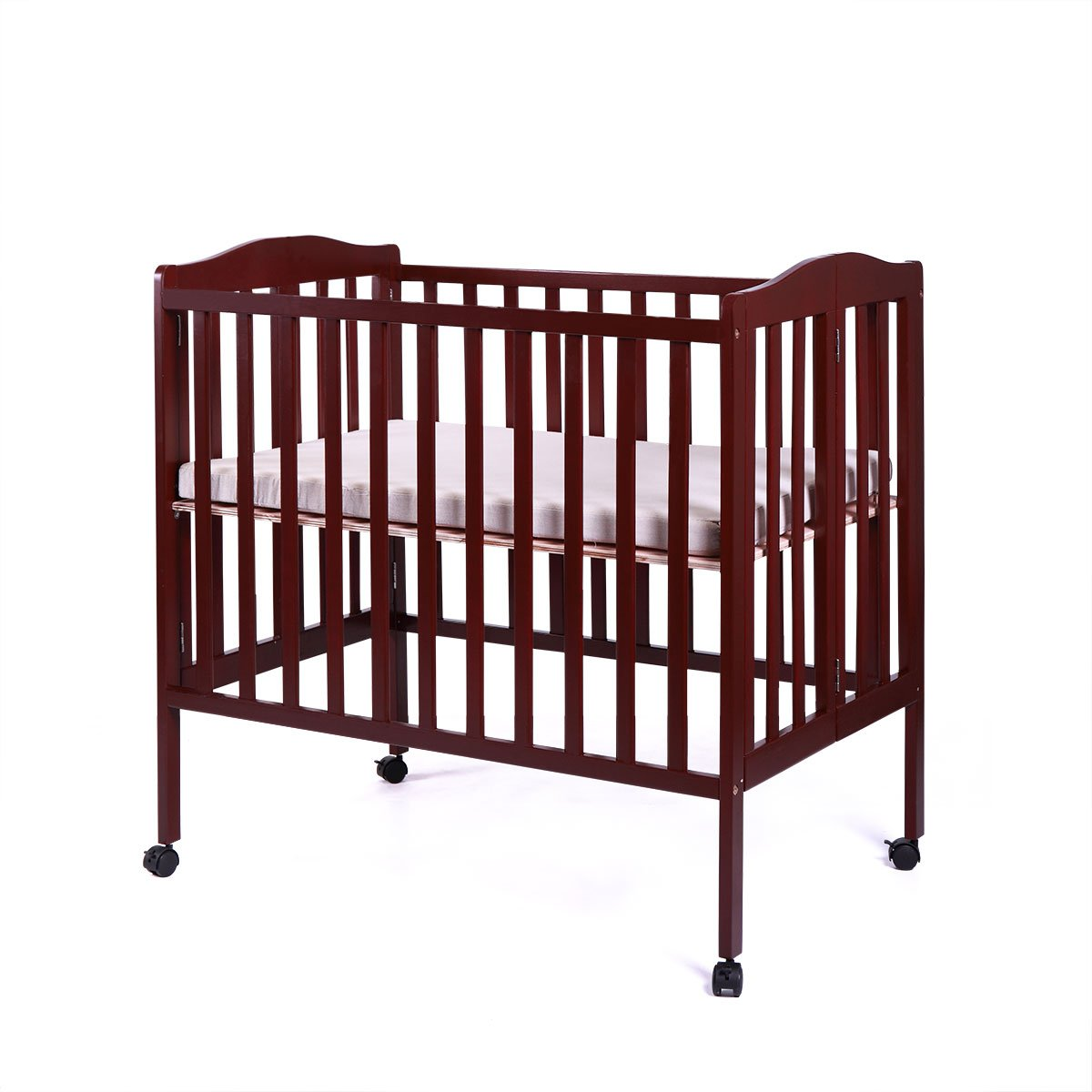 JAXPETY Baby Toddler Bed Pine Wood Nursery Furniture Safety Newborn Coffee