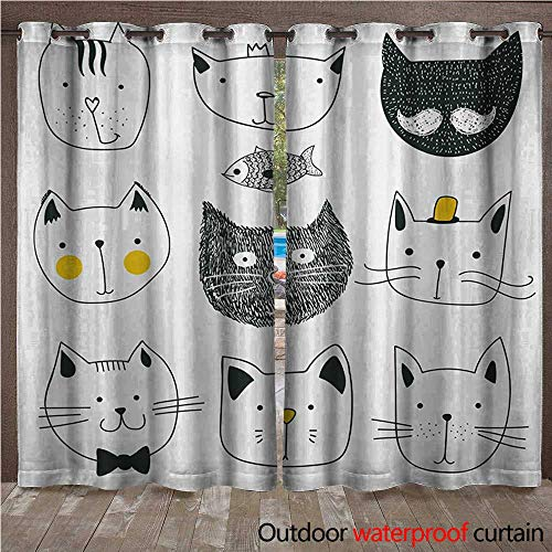 (BlountDecor Cat Outdoor Curtain Panel for Patio Stylish Cats with Moustache Bow Tie Hat Crown Fluffy and Fish Humor Faces GraphicW120 x L84 Yellow)