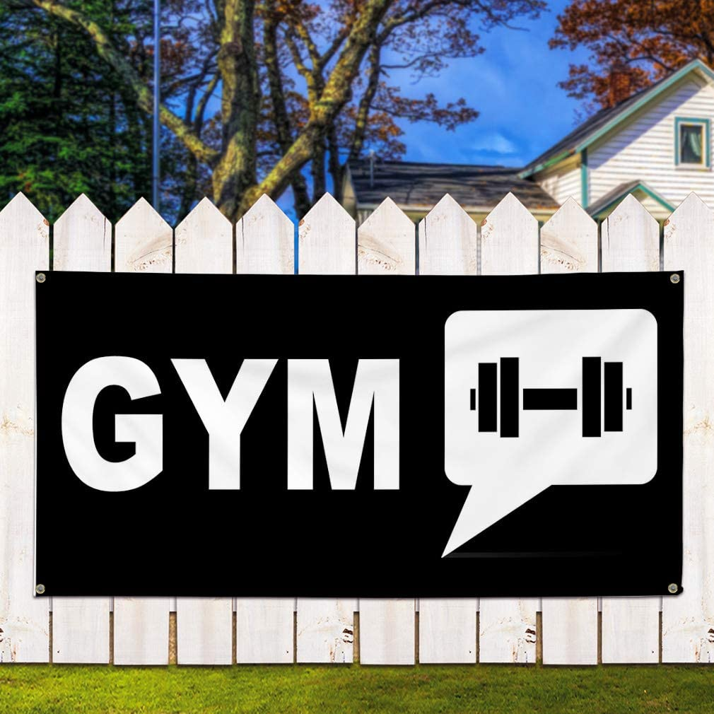 Vinyl Banner Sign Gym Black White Health Care Gym Outdoor Marketing Advertising Black Multiple Sizes Available Set of 2 6 Grommets 32inx80in