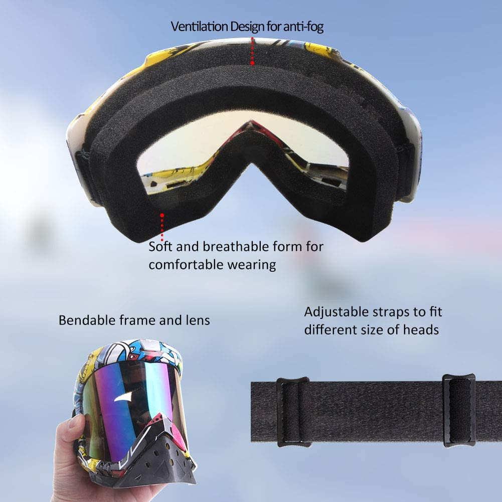 color Motorcycle Goggles LMAVAG Motocross Goggles ATV Goggles Dirtbike Anti Fog Goggles Powersports Goggles UV400 Anti-Scratch Dustproof Offroad Goggle MX Goggles for Skiing Riding Cycling Racing