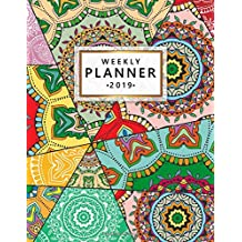 Weekly Planner 2019: Cute mosaic style mandala planner with weekly views with to-do lists, inspirational quotes and more. The perfect pretty vintage organizer to make 2019 fantastic.