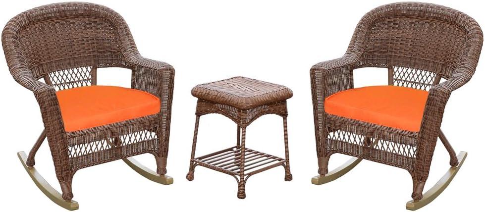 Jeco 3 Piece Rocker Wicker Chair Set with with Orange Cushion, Honey