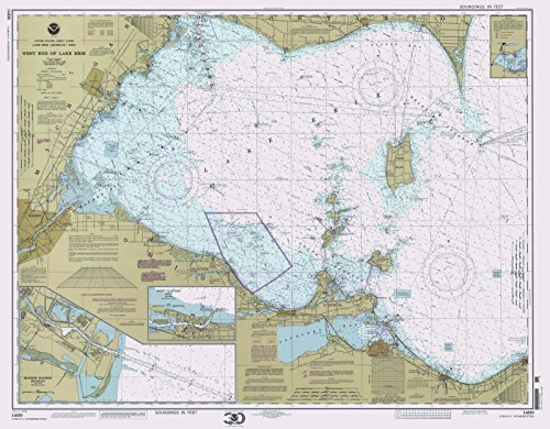 Map - West End Of Lake Erie, 2000 Nautical NOAA Chart - Michigan, Ohio (MI, OH) - Vintage Wall Art - 55in x 44in (Depth Lake Chart Erie)