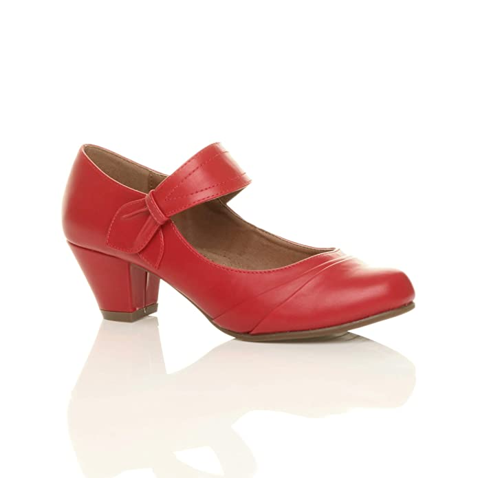 Vintage Style Shoes, Vintage Inspired Shoes Ajvani Womens Ladies mid Heel Mary Jane Strap Smart Work Comfort Court Shoes Size £49.90 AT vintagedancer.com
