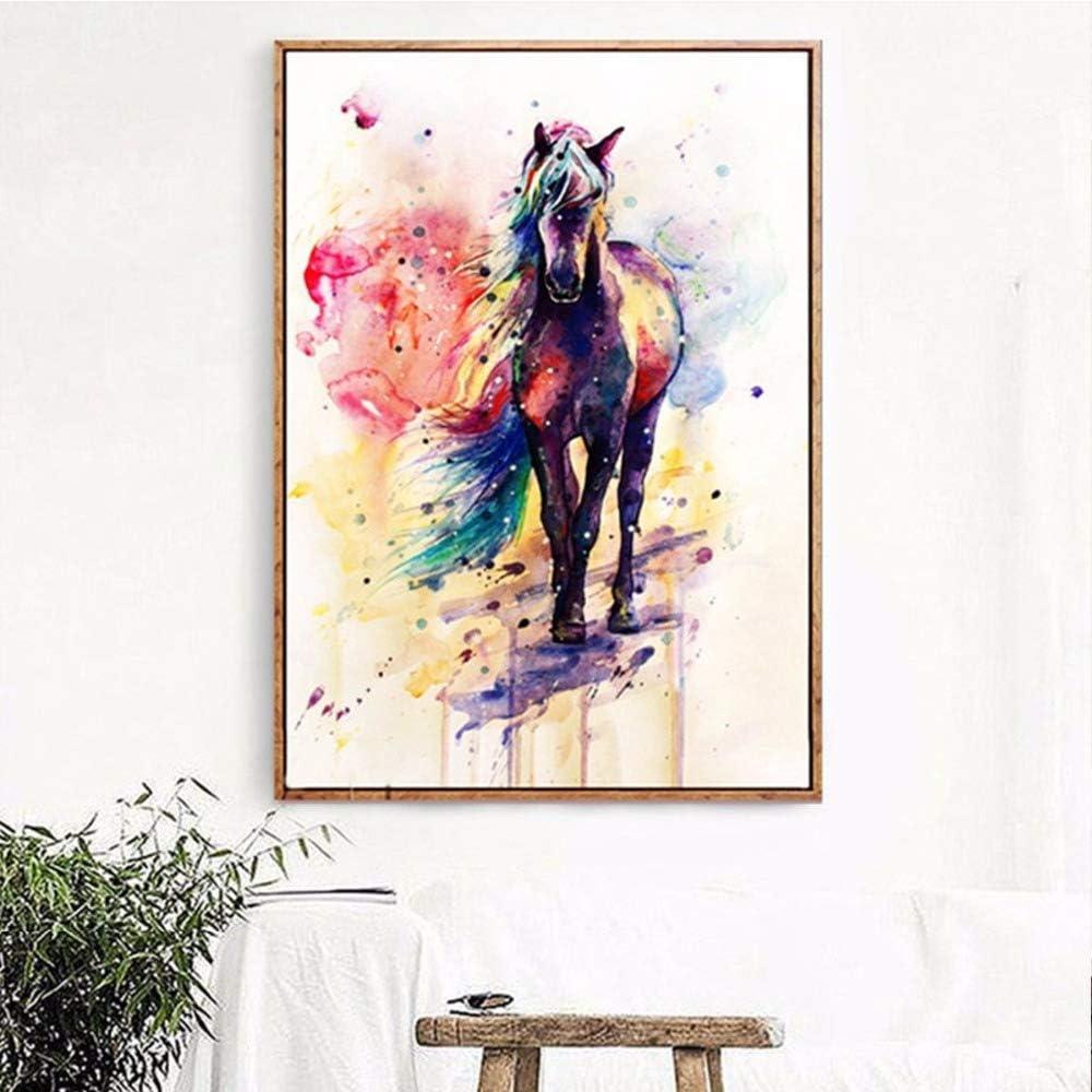 Cartel de pared animal colorido caballo arte cartel lienzo pintura mural impresión hogar sala de estar decoración
