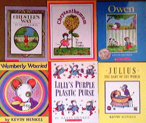 Kevin Henkes Pack Set of 6 Books/Chester's Way/Chrysanthemum/Owen/Wemberly Worried/Lilly's Purple Plastic Purse/Julius Baby of the World