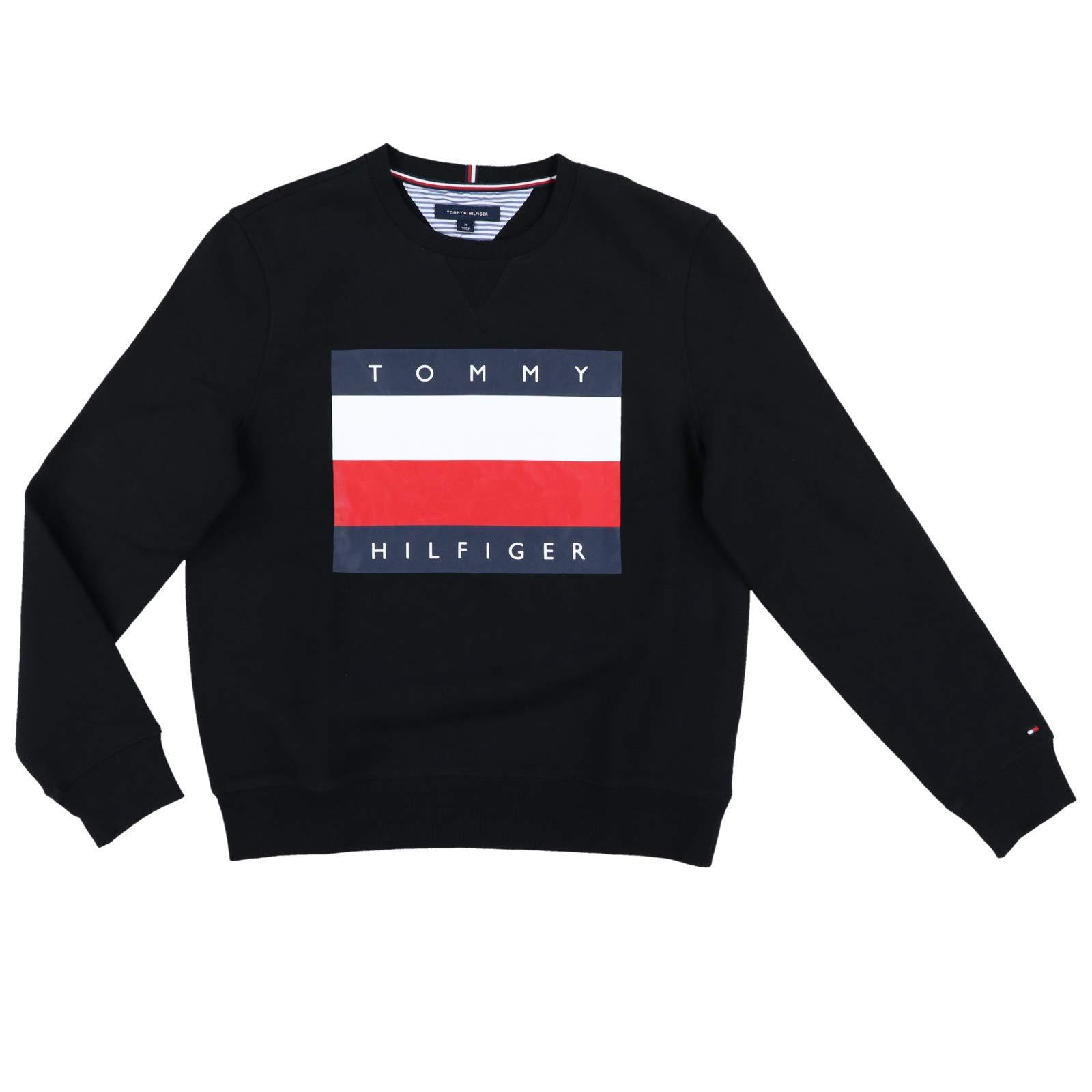 Tommy Hilfiger Mens Pullover Big Flag Sweater (Large, Black)