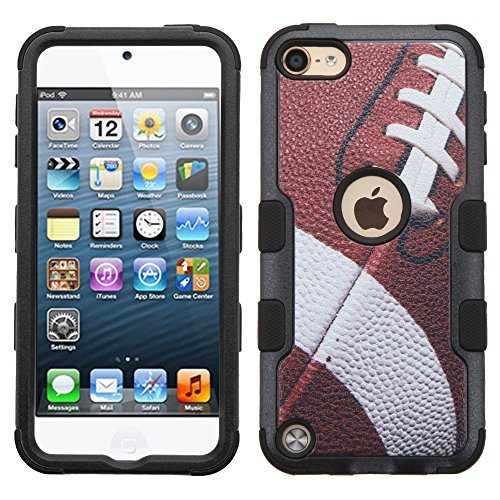 MYTURTLE Shockproof Hybrid Case Hard Silicone Shell High Impact Cover with Stylus Pen and Screen Protector for iPod Touch 5th 6th Generation, Ball Sports Football Tuff