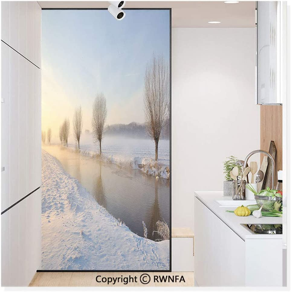 Película de vidrio sin pegamento para ventana, adhesivo de papel para privacidad, decoración de puerta de río nevado, paisaje Barren y árboles esmerilados, fotografía holandesa de Europa neerlandesa, mural no adhesivo para