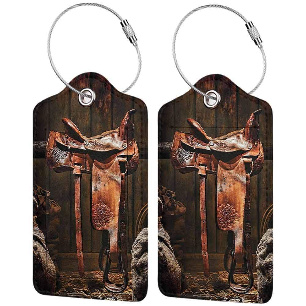 Soft luggage tag Western Decor Collection Rodeo Cowboy Leather Western Saddle on Wood Beam in Rustic Ranch Wood Barn Picture Bendable Dark Brown W2.7 x L4.6