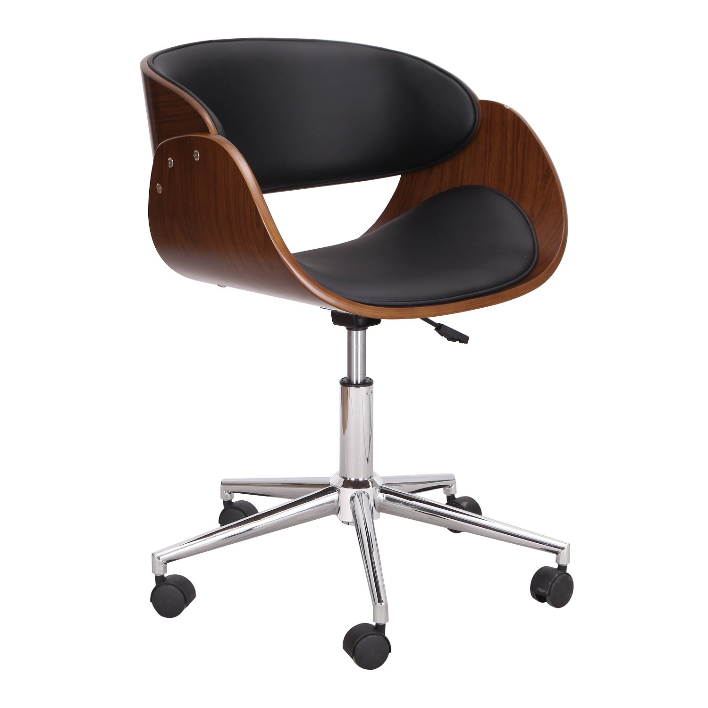 AdecoBentwood Full Back Adjustable Home Desk Swivel Armless Office Chair Black II