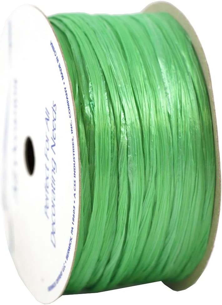 Sold Individually Pearlized Lime Green JAM PAPER Raffia Ribbon 60 feet per Spool