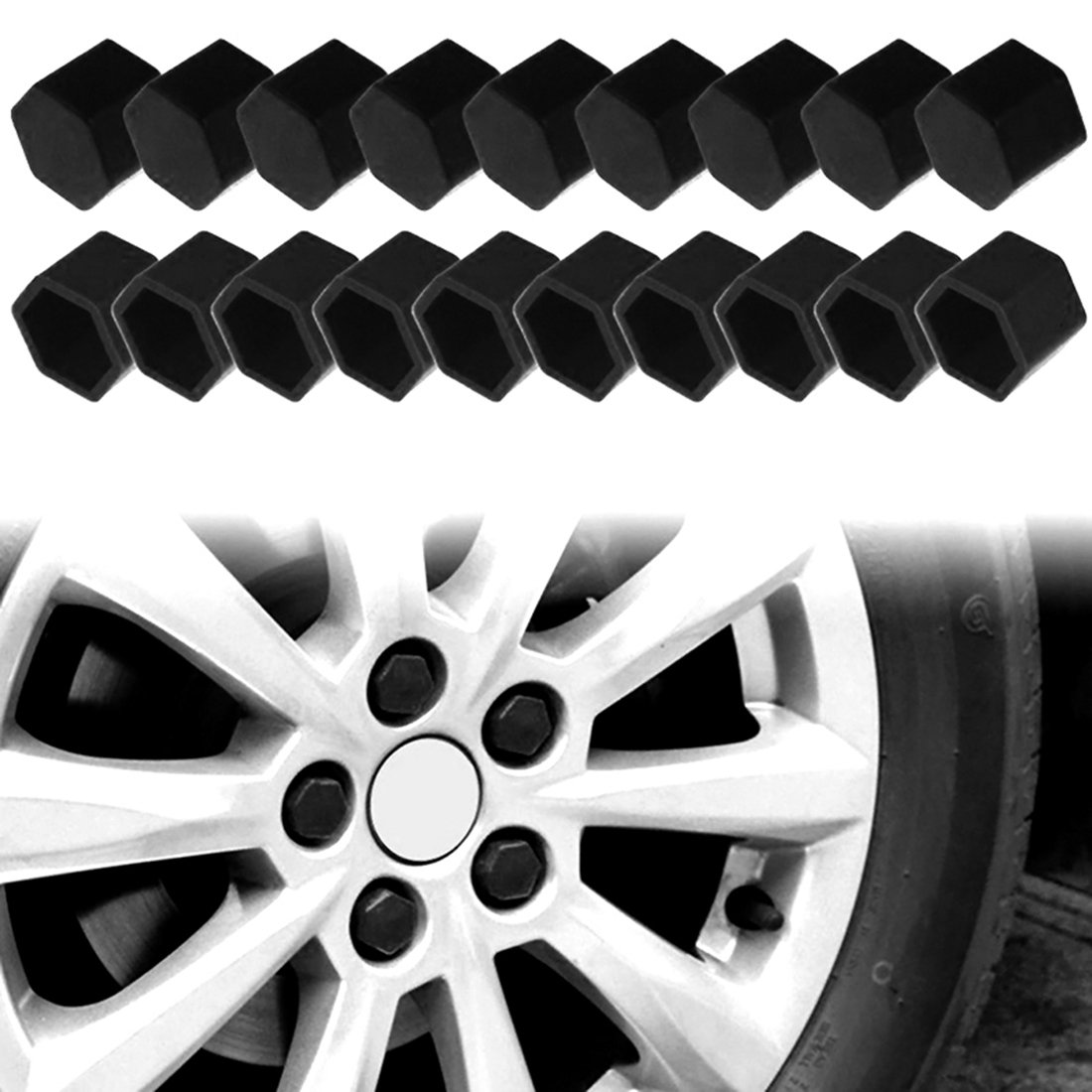 X AUTOHAUX 20pcs 17mm Universal Blue Silicone Car Wheel Nut Lug Hub Screw Rim Bolt Covers Dust Protection Tyres Screw Caps