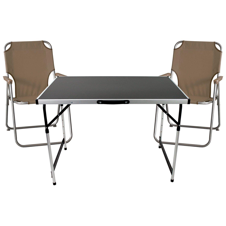 3tlg. Campingmöbel Set Klapptisch, Aluminium, 100x60cm ...