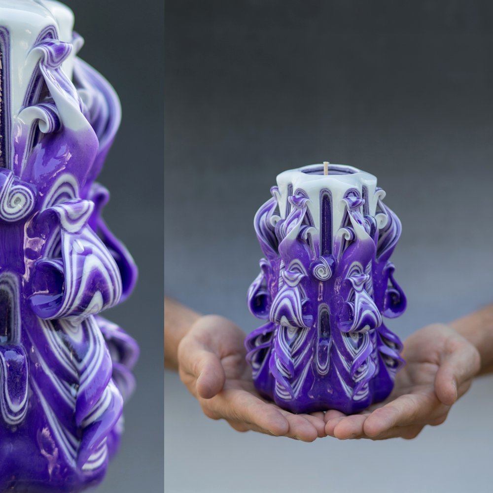 Decorative Unique Hand Carved Candle for Mothers Day, Mother in law Birthday Gift For Her Handmade Shop Purple Special