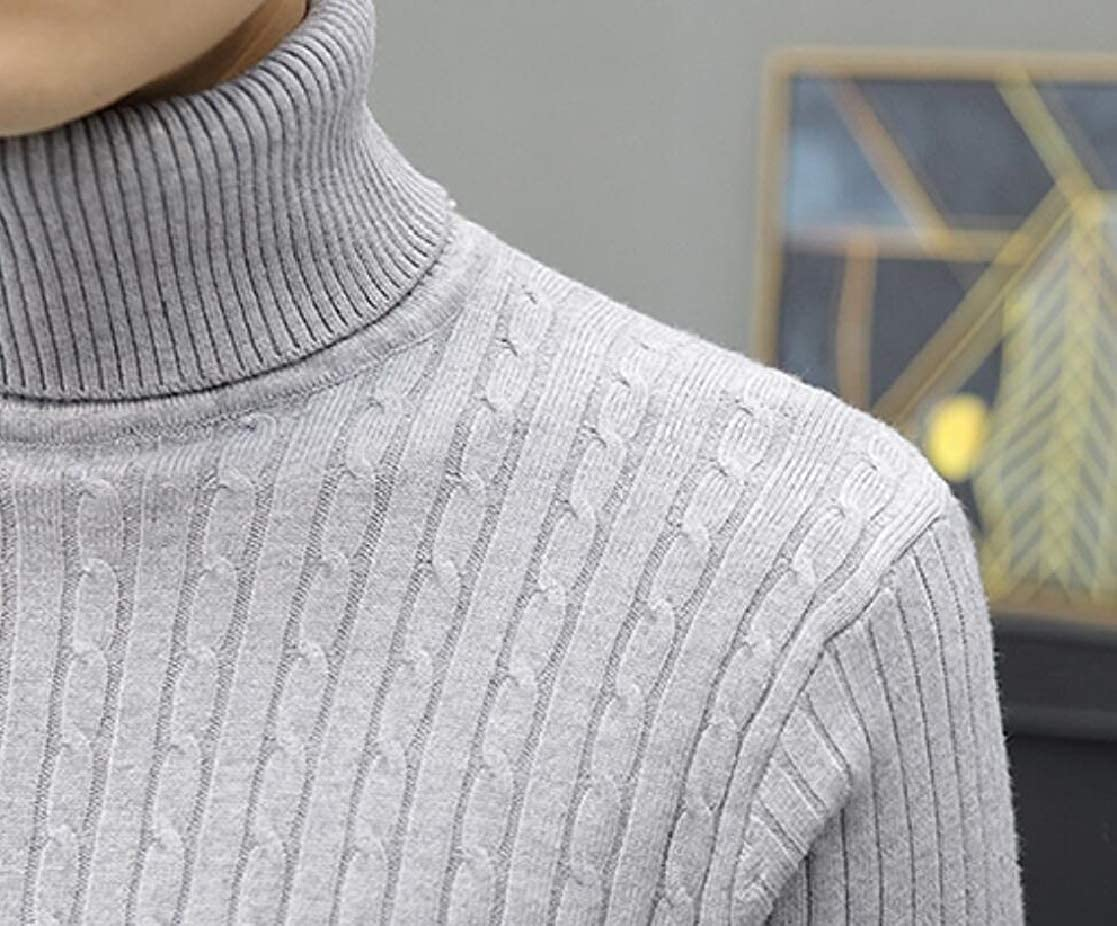 KLJR Men Long Sleeve Ribbed Cable Knit Turtleneck Classic Pullover Sweater