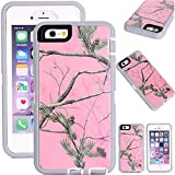Kecko(TM)for iphone 6 case,Defender Tough Rubber Tree Forest Camo Shockproof Weather Impact Resistant Military Grade Heavy Duty Hybrid Rugged Full Body Protective Built-in Screen Protector Case with Camouflage Woods Design for iphone 6 4.7 inch(for Regular iphone 6) (Pink Tree)