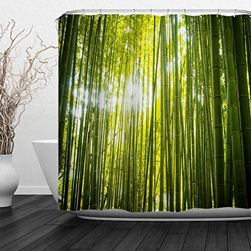 orative Polyester Fabric Waterproof Shower Curtain with Hooks, Nature Scenery Theme 72