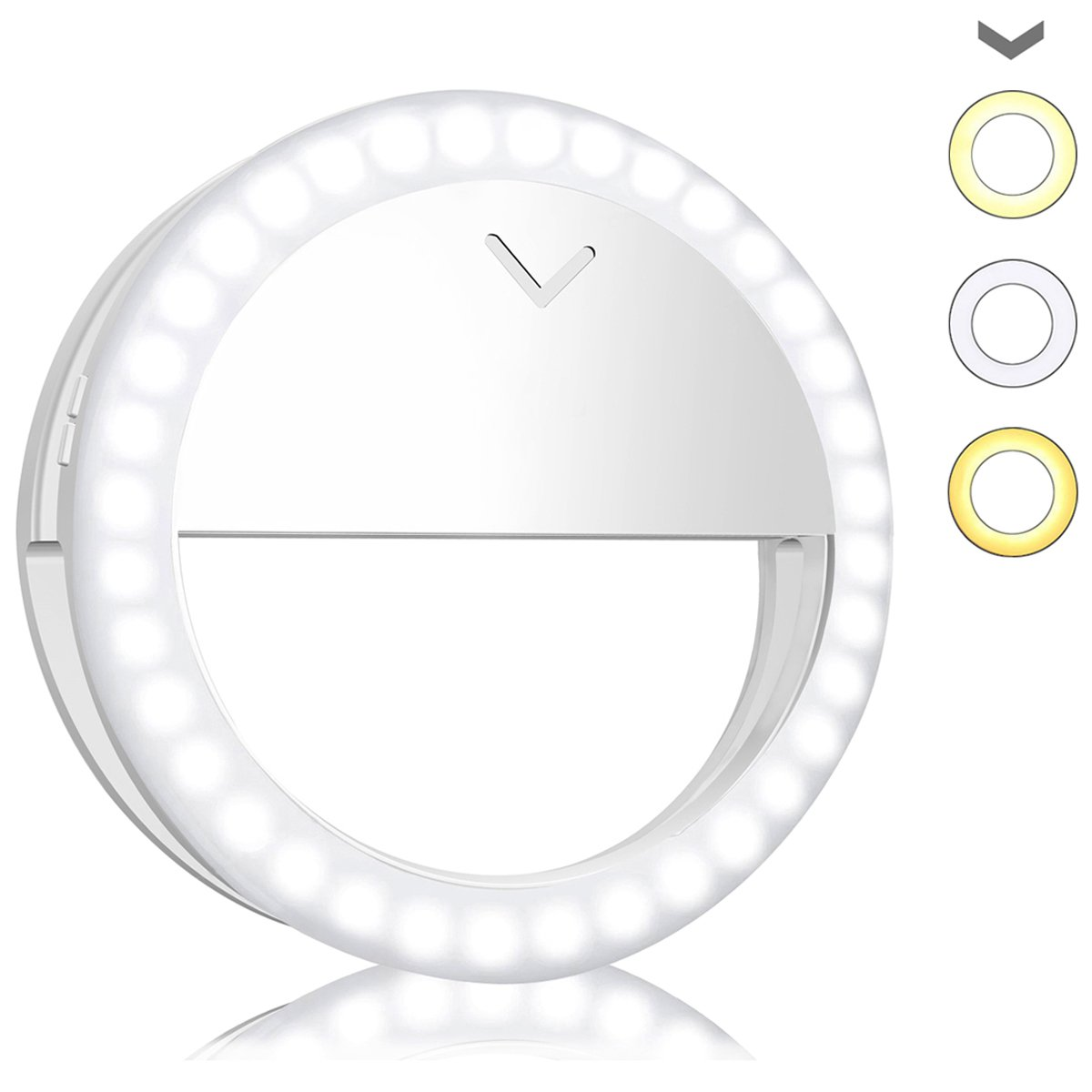 Avanz Selfie Ring Light for Camera, Rechargeable 40 LED Ring Light 4-Level Brightness for iPhone iPad Tablet Laptop Samsung Galaxy Photography Phones, White & Warm