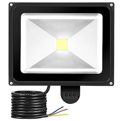 GREESUN 50W Foco LED con Sensor Movimiento de alto brillo 4500LM, Blanco Frío 6000K Proyector