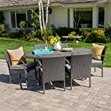 Cheap Portola | 7 Piece Wicker Outdoor Dining Set with Cushions | Perfect for Patio | in Grey