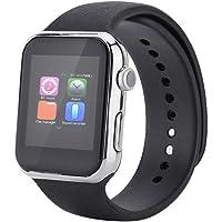 VBESTLIFE Reloj Elegante de Bluetooth Pulsera de Moda de Deportes Perseguidor de la Aptitud cpn Podómetro Receptor de Música Espera Monitor de Frecuencia Cardíaca/Sueño Soporte/Llamadas(Silver)