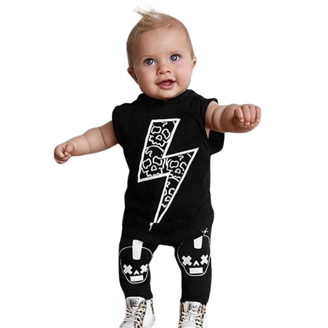 Longra Baby Mädchen Jungen Sommer Ärmellos Blitz T-shirt Schwarz Tank Tops mit Kapuzen Shirt + Schädel Knochen Print Hosen Coole Babykleidung