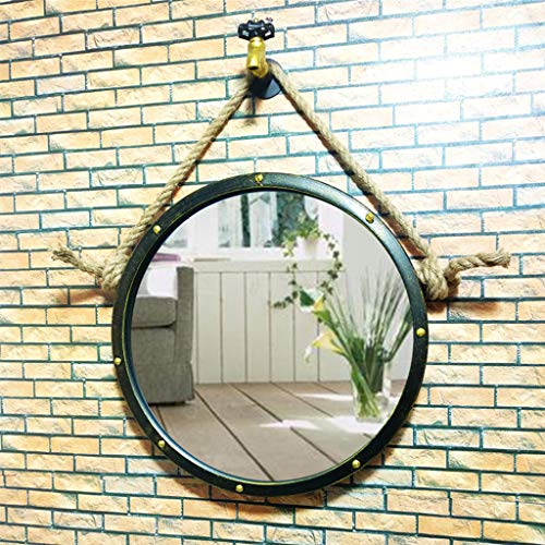 50/60/70cm Diameter Round Hanging Mirror Living Decoration Vanity Mirror Shaving Mirror Bathroom with Chain Wall Mirror by GYX-Bathroom Mirror (Image #2)