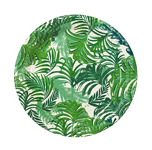 Plate Invitation Wedding (Talking Tables Fancy Frond Tropical Fiesta Party Plates, 12 count, 9 inch Green Disposable Plates for a BBQ, Luau, or Summer Party)