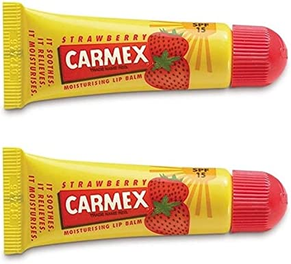 Carmex Lip Balm Original, Cherry o Strawberry 2 Pack - Bálsamo labial original Pot Pack de 2… (Carmex Tube Strawberry): Amazon.es: Belleza