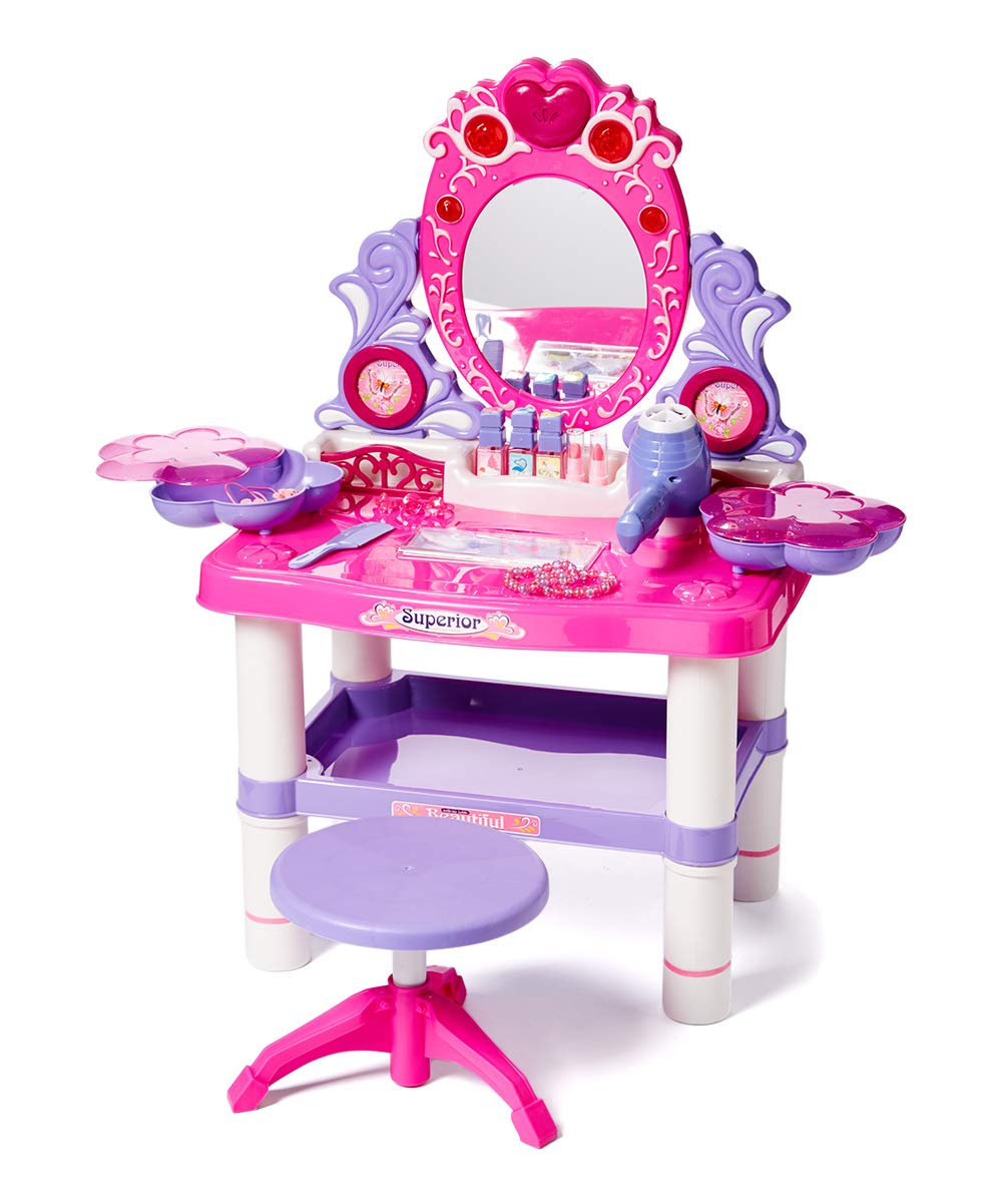 Dash Toyz Princess Vanity Girl's Children's Pretend Play Dressing Table Battery Operated Toy Beauty Mirror Vanity Playset w/ Accessories