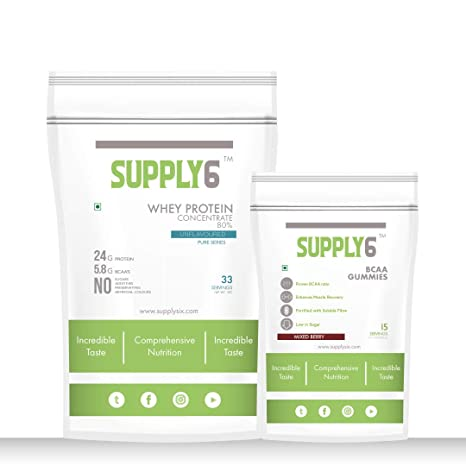 9f8f840f90 Supply6 Whey Protein Concentrate 80% - Unflavoured (1Kg) (Free BCAA ...