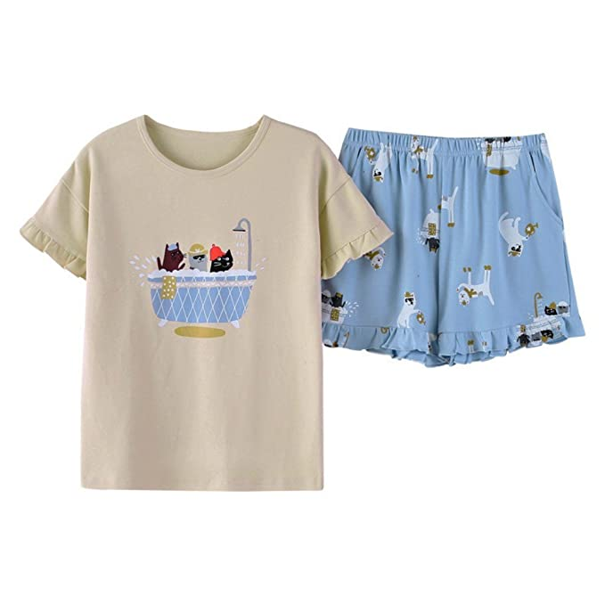14ce4dd28e91 YGUII Pajama Sets Womens Sexy Sleepwear Viscose Cami and Shorts Set Girls  Grey and Blue Cat