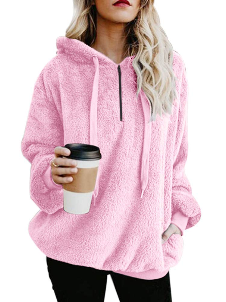 Yanekop Womens Sherpa Pullover Fuzzy Fleece Sweatshirt Oversized Hoodie with Pockets(Pink,M)