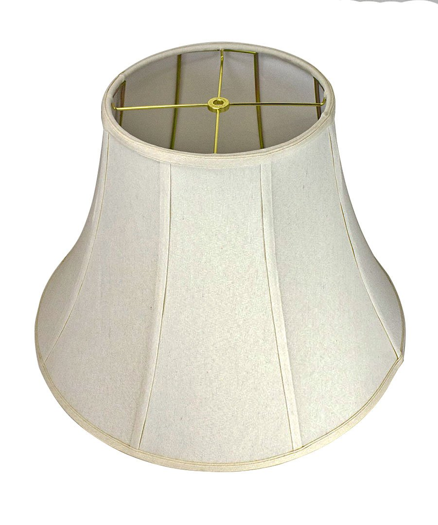 10x20x15 Premium Linen Bell Lampshade Light Oatmeal with Brass Spider fitter by Home Concept - Perfect for table and Floor lamps - Extra Large, Off-White