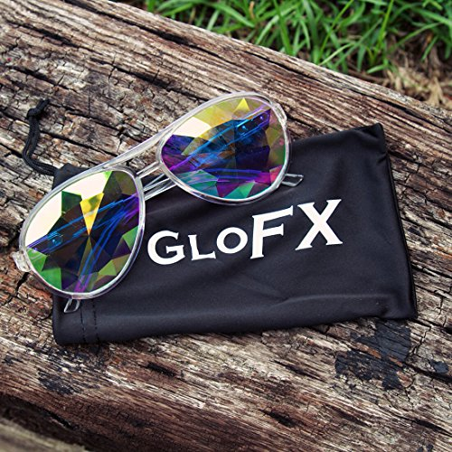 GloFX Aviator Style Kaleidoscope Glasses – Clear – Rave Rainbow EDM Diffraction Effect