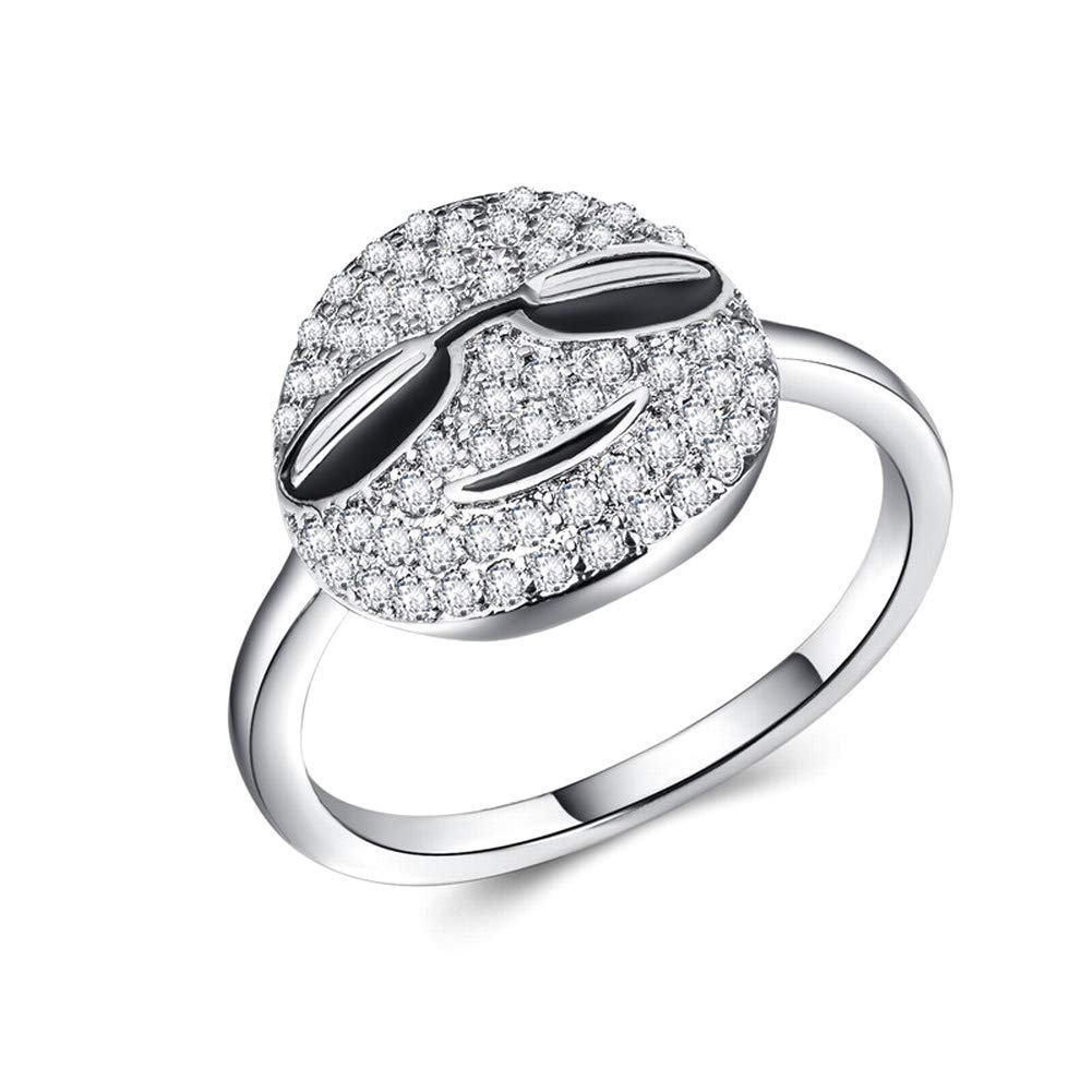 Cute Emoticon Rings Smile Cartoon Originality Band CZ Simulated Diamond Stackable Ring Expression