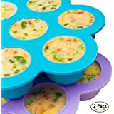 Bonfook 2 Packs Small Silicone Egg Bites Molds For Instant Pot Accessories- Fits 5,6qt Pressure Cooker,7Cups Reusable Baby Food Storage Container With Clip-On Lid,Freezer Molds Ice Trays(Blue+Purple)
