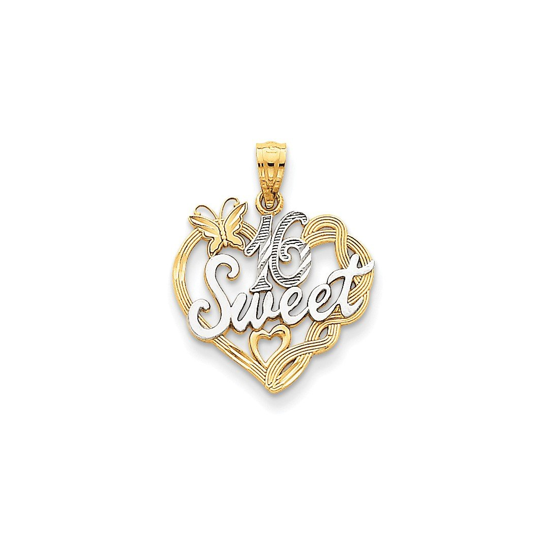 ICE CARATS 14k Yellow Gold Sweet Sixteen Girl 16 Birthday Pendant Charm Necklace Special Day Fine Jewelry Ideal Mothers Day Gifts For Mom Women Gift Set From Heart