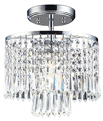 Optix 1 Light Flushmount in Polished Chrome and Clear Crystal - Includes Recessed Lighting Kit ()