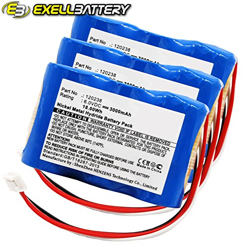 3pc 18V 2000mAh Medical Batteries For GE 30344270 MAC 1200ST MAC1000 MAC1100 by Exell Battery