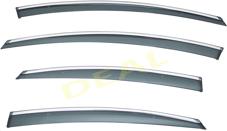 Window Rain Guard W//Outside Mount Tape-On//Clip-On Type DEAL 4-Piece Set Vent Window Visor W//Smoke Chrome Trim Custom Fit High-Class Quality For 11-14 Sonata YF All Models 15 Hybrid Only