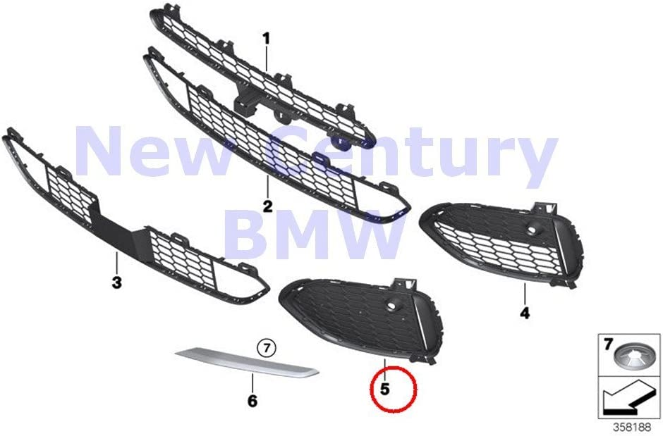 Genuine BMW X5 F15 Front Bumper Closed M Grille Right OEM 51118064636