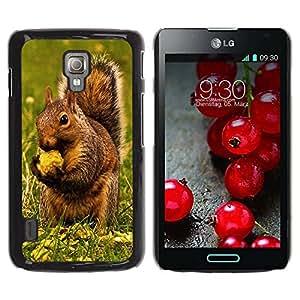 Caucho caso de Shell duro de la cubierta de accesorios de protección BY RAYDREAMMM - LG Optimus L7 II P710 / L7X P714 - Brown Squirrel & Nut