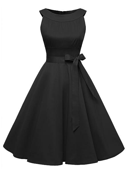 Timormode Vestido Corto De Fiesta Vintage Color Sólido Sencillo Y Elegante Rockabilly Mujer Negro XS