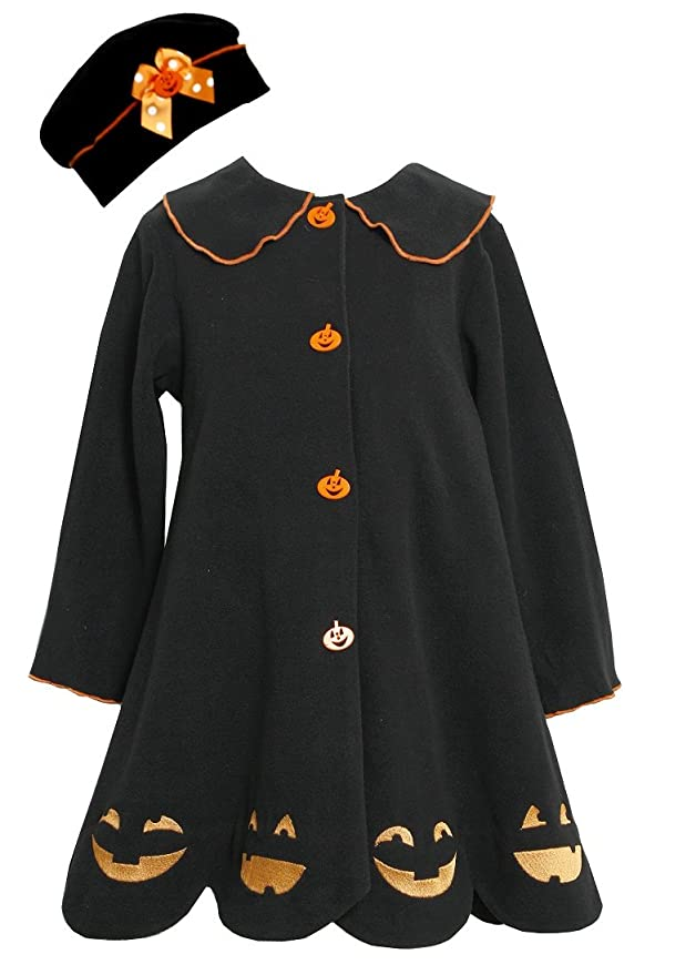 Vintage Style Children's Clothing: Girls, Boys, Baby, Toddler Bonnie Jean Girls Jack-O-Lantern Halloween Coat & Hat Black Size 4-6X $26.00 AT vintagedancer.com