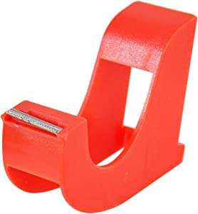 "HOME-X Small Hand-Held Tape Dispenser, Easy Desktop Office Supplies – Red 3"" L x 2"" W x 1"" H"